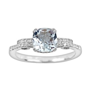 Sterling Silver .11-ct. T.W. Diamond and Aquamarine Ring