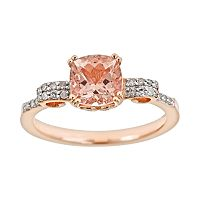 14k Rose Gold Over Sterling Silver .11 ctT.W. Diamond & Morganite Ring