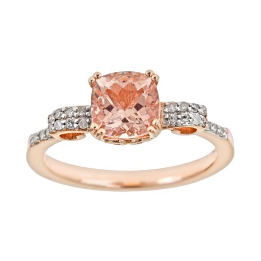 14k Rose Gold Over Sterling Silver .11-ct. T.W. Diamond and Morganite Ring