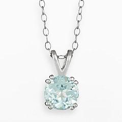 Sterling Silver Aquamarine Pendant