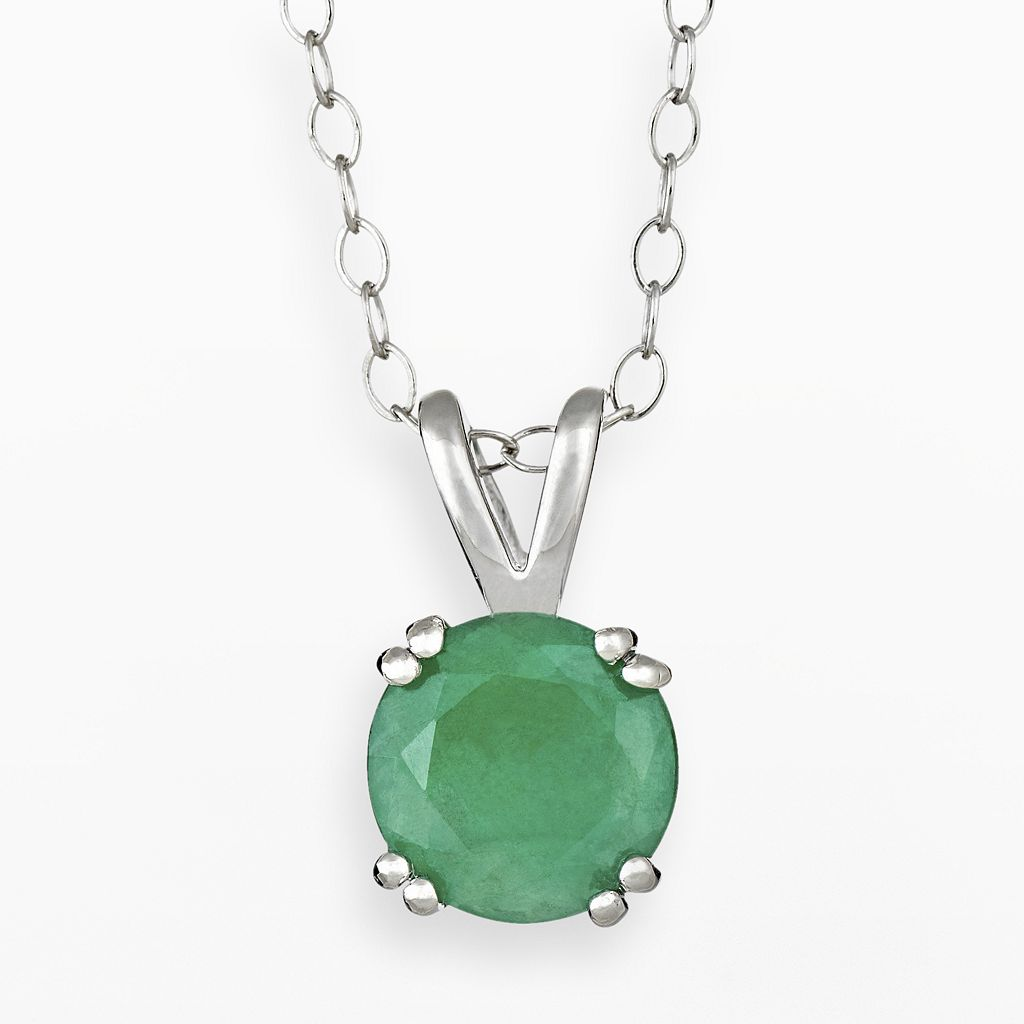Sterling Silver Emerald Pendant