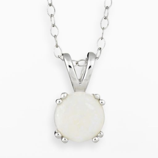 Sterling Silver Opal Pendant Necklace