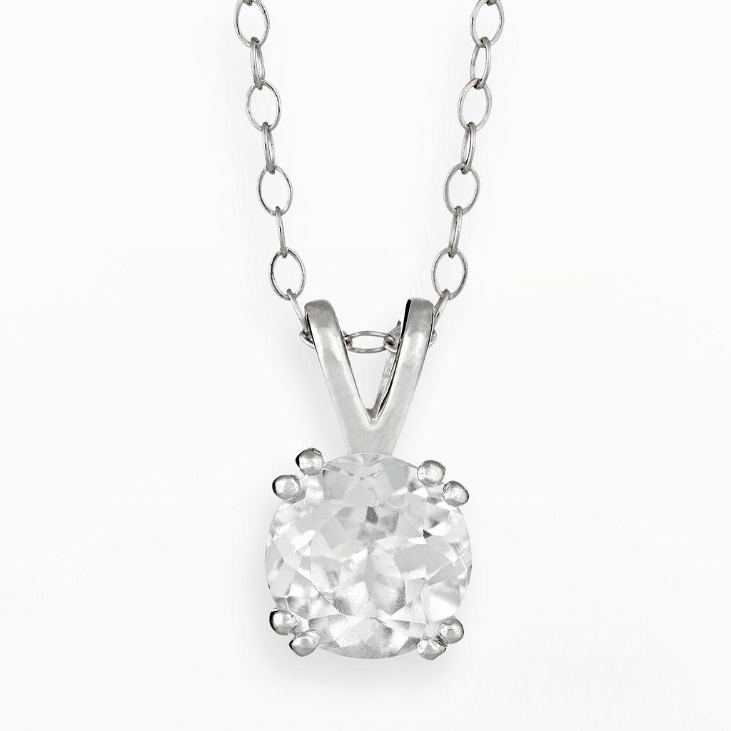 Sterling Silver White Topaz Pendant