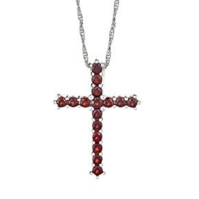 Sterling Silver Garnet Cross Pendant