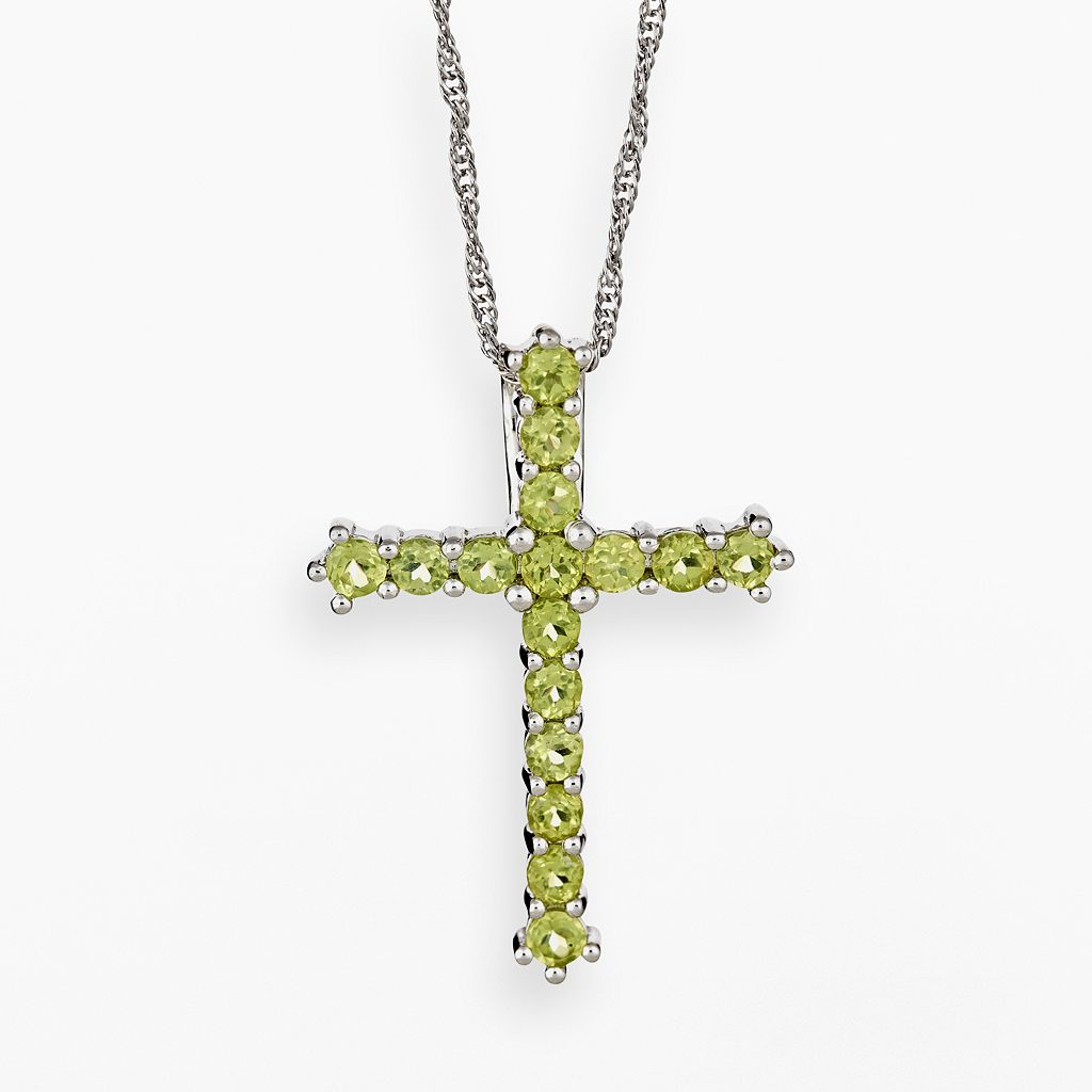 Sterling Silver Peridot Cross Pendant
