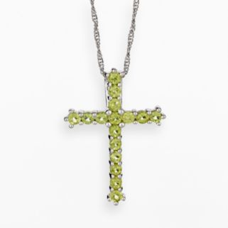Sterling Silver Peridot Cross Pendant