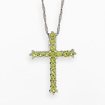 Sterling silver peridot cross pendant mozeypictures Gallery