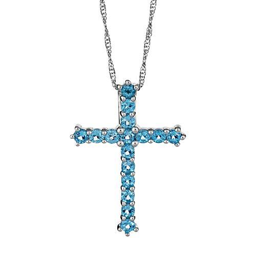 Sterling Silver Swiss Blue Topaz Cross Pendant