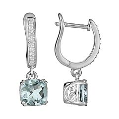 Sterling Silver 1/10 ctT.W. Diamond & Aquamarine Drop Earrings