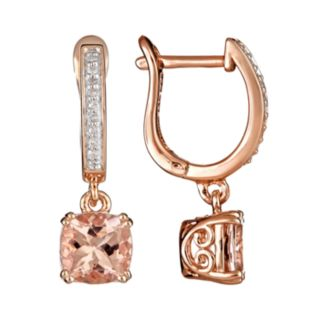 14k Rose Gold Over Sterling Silver 1/10-ct. T.W. Diamond and Morganite Drop Earrings
