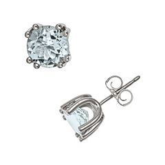 Sterling Silver Aquamarine Stud Earrings