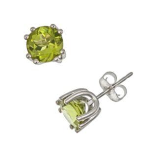 Sterling Silver Peridot Stud Earrings
