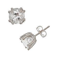 Sterling Silver White Topaz Stud Earrings