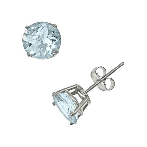 Sterling Silver Aquamarine Stud Earrings