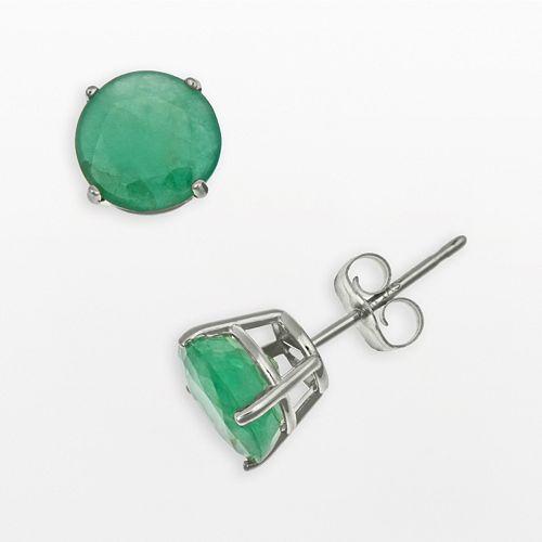 Sterling Silver Emerald Stud Earrings