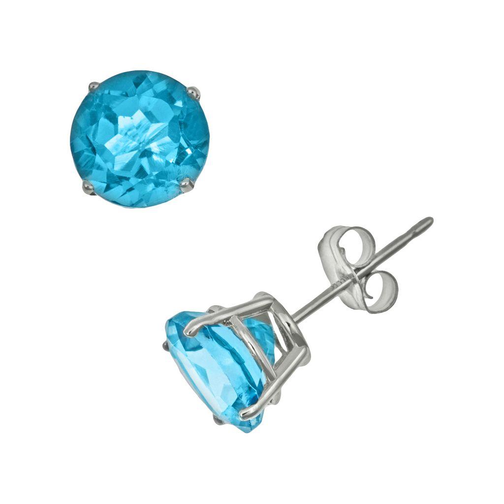 Sterling Silver Swiss Blue Topaz Stud Earrings