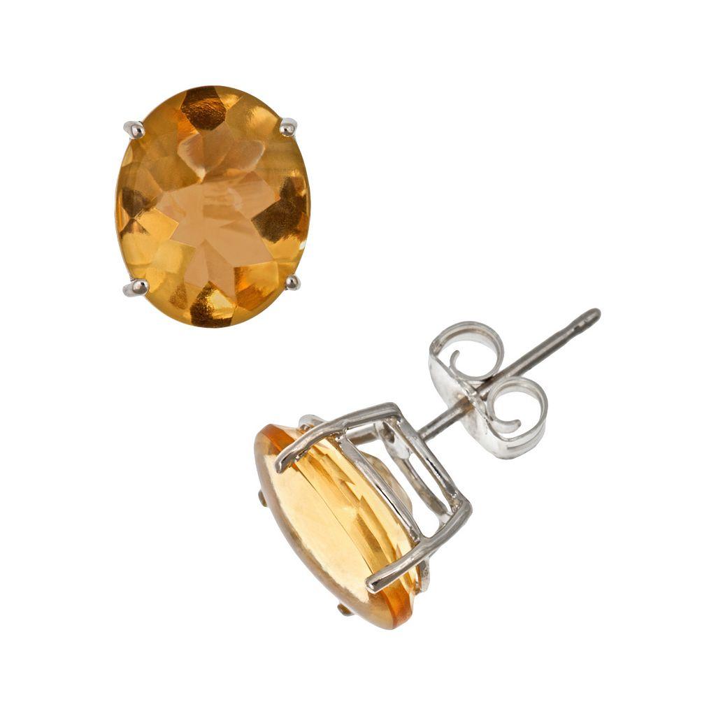 Sterling Silver Citrine Oval Stud Earrings
