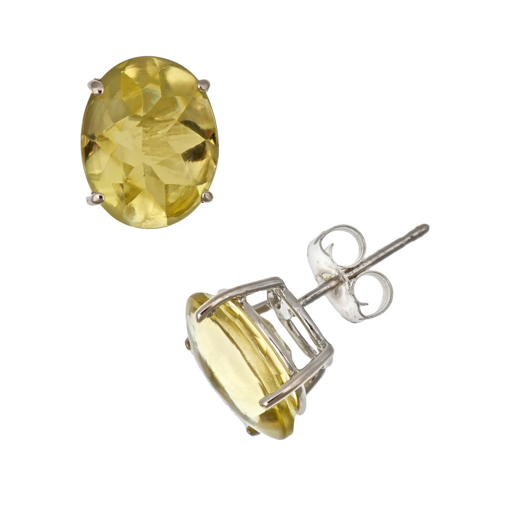Sterling Silver Lime Quartz Oval Stud Earrings