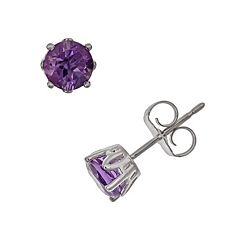 Sterling Silver African Amethyst Stud Earrings