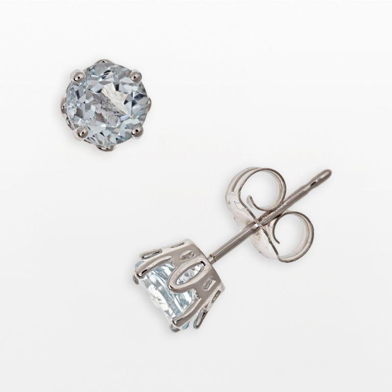 Sterling Silver Aquamarine Stud Earrings, Women's, Blue