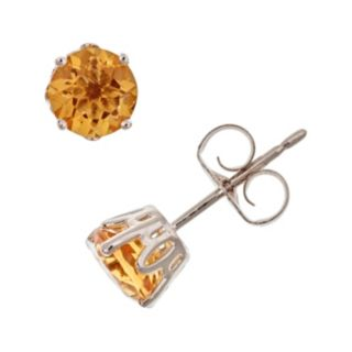 Sterling Silver Citrine Stud Earrings