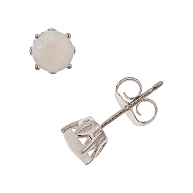 Sterling Silver Opal Stud Earrings, Women's, White