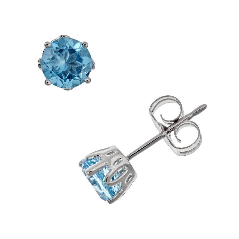 Sterling Silver Swiss Blue Topaz Stud Earrings, Women's