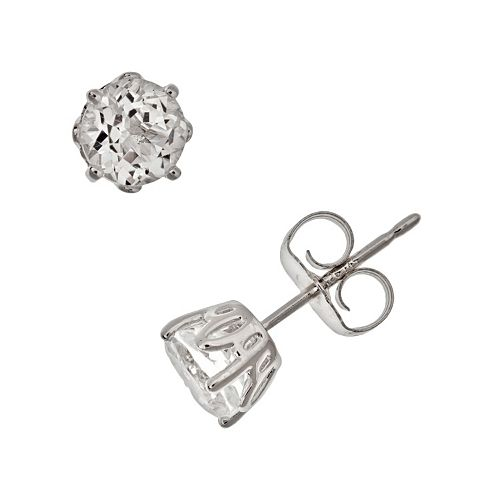 Sterling Silver White Topaz Stud Earrings