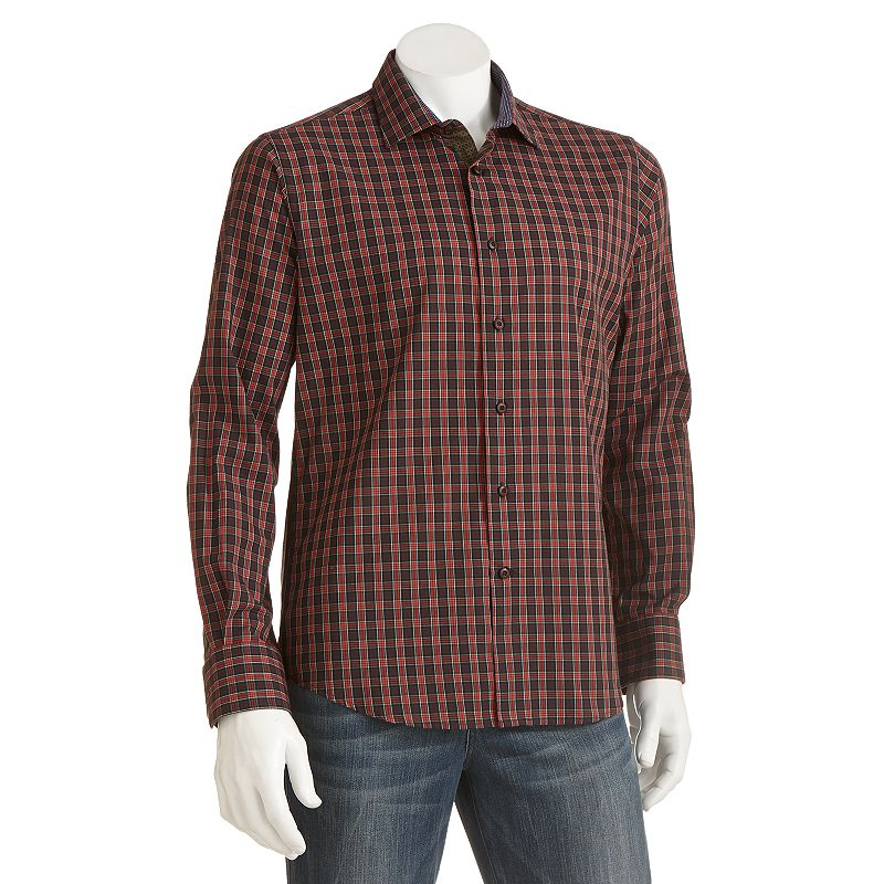 Van heusen van heusen studio modern fit plaid for Van heusen plaid shirts