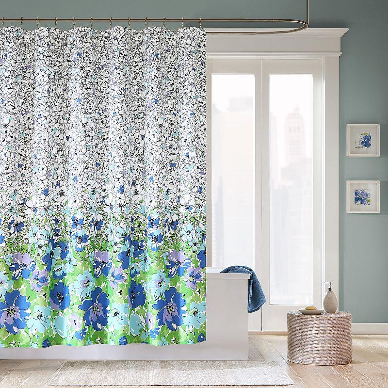 mi zone jayna fabric shower curtain sketch chic floral white black purple blue ebay. Black Bedroom Furniture Sets. Home Design Ideas