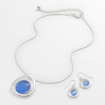 Silver Tone Simulated Cat's-Eye Teardrop Pendant and Drop Earring Set
