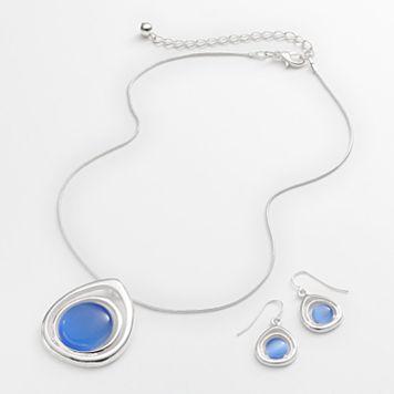 Silver Tone Simulated Cat's-Eye Teardrop Pendant & Drop Earring Set