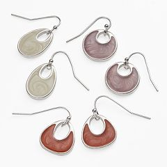 Silver Tone Drop Earring Set