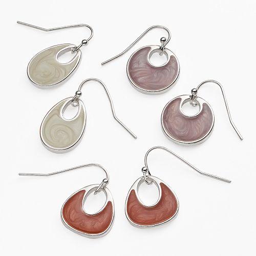 Silver Tone Drop Earring Set