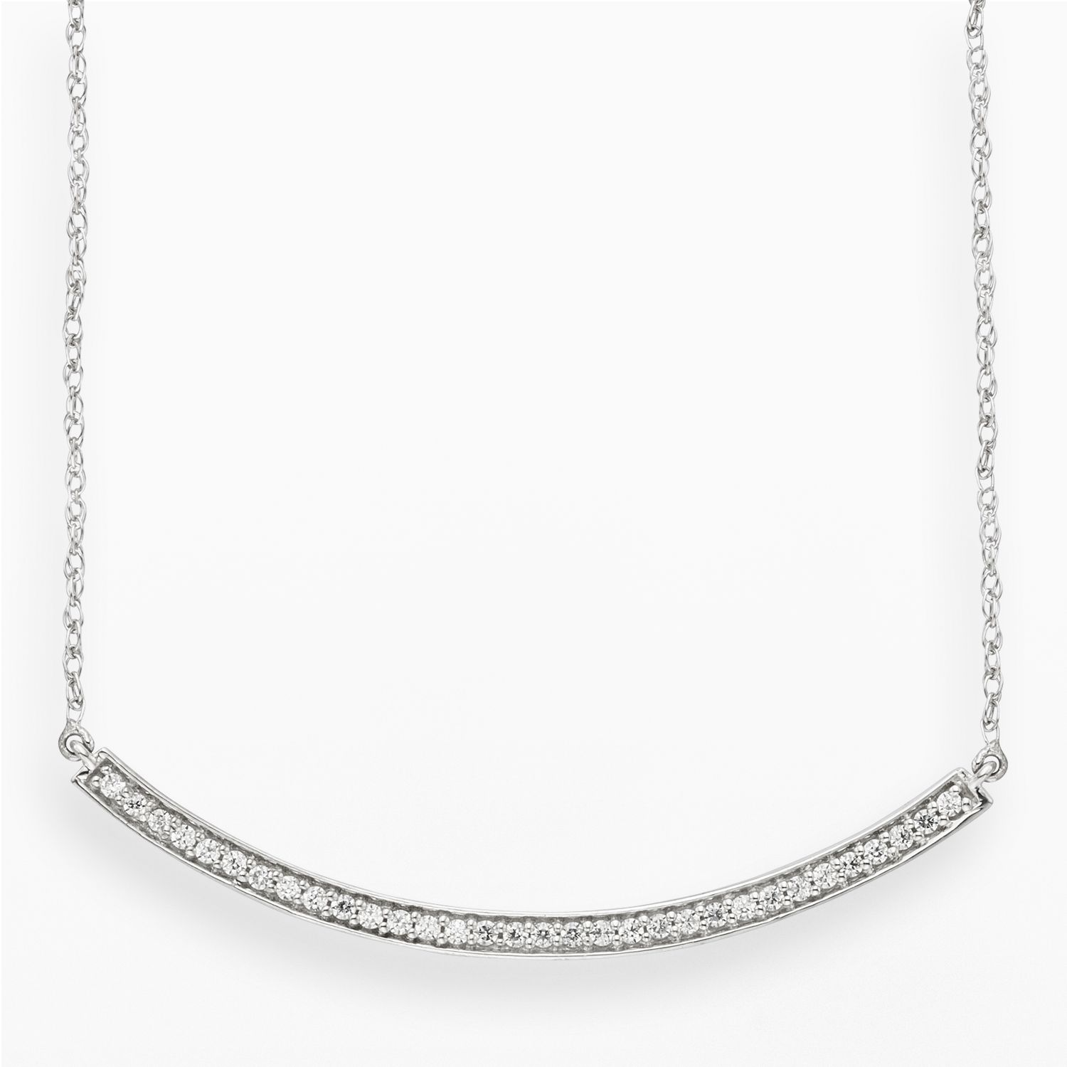 Compare Prices On 1ct Diamond Pendant Online Shopping Buy: 10k White Gold 1/4-ct. T.w. Diamond Bar Necklace