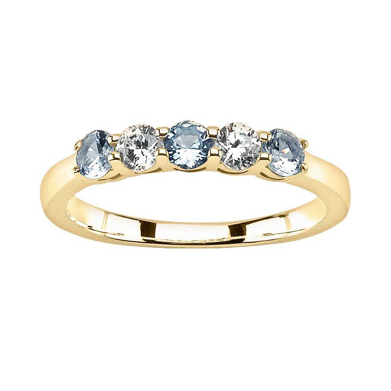 14k Gold Aquamarine and 1/5-ct. T.W. Round-Cut Diamond Ring