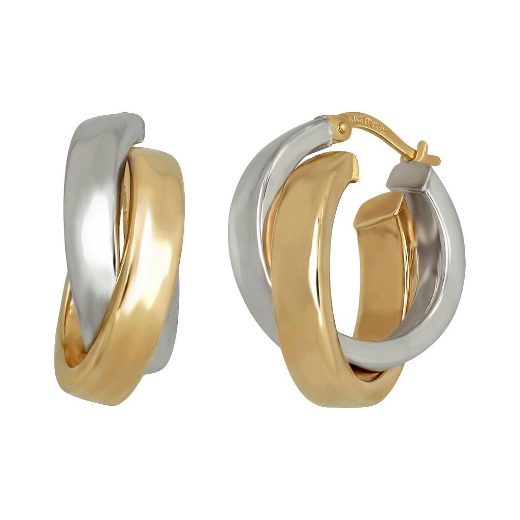 Everlasting Gold 14k Gold Two Tone Crisscross Hoop Earrings