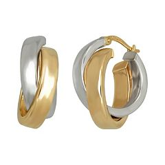 Everlasting Gold 14k Gold Two Tone Crisscross Hoop Earrings