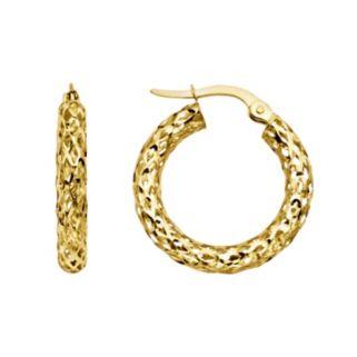 Everlasting Gold 14k Gold Mesh Hoop Earrings