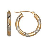 Everlasting Gold Two Tone 14k Gold Hoop Earrings