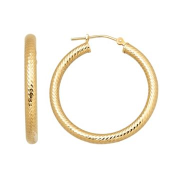 Everlasting Gold 14k Gold Textured Hoop Earrings