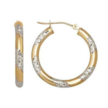 Everlasting Gold Two Tone 14k Gold Hoop Earrings