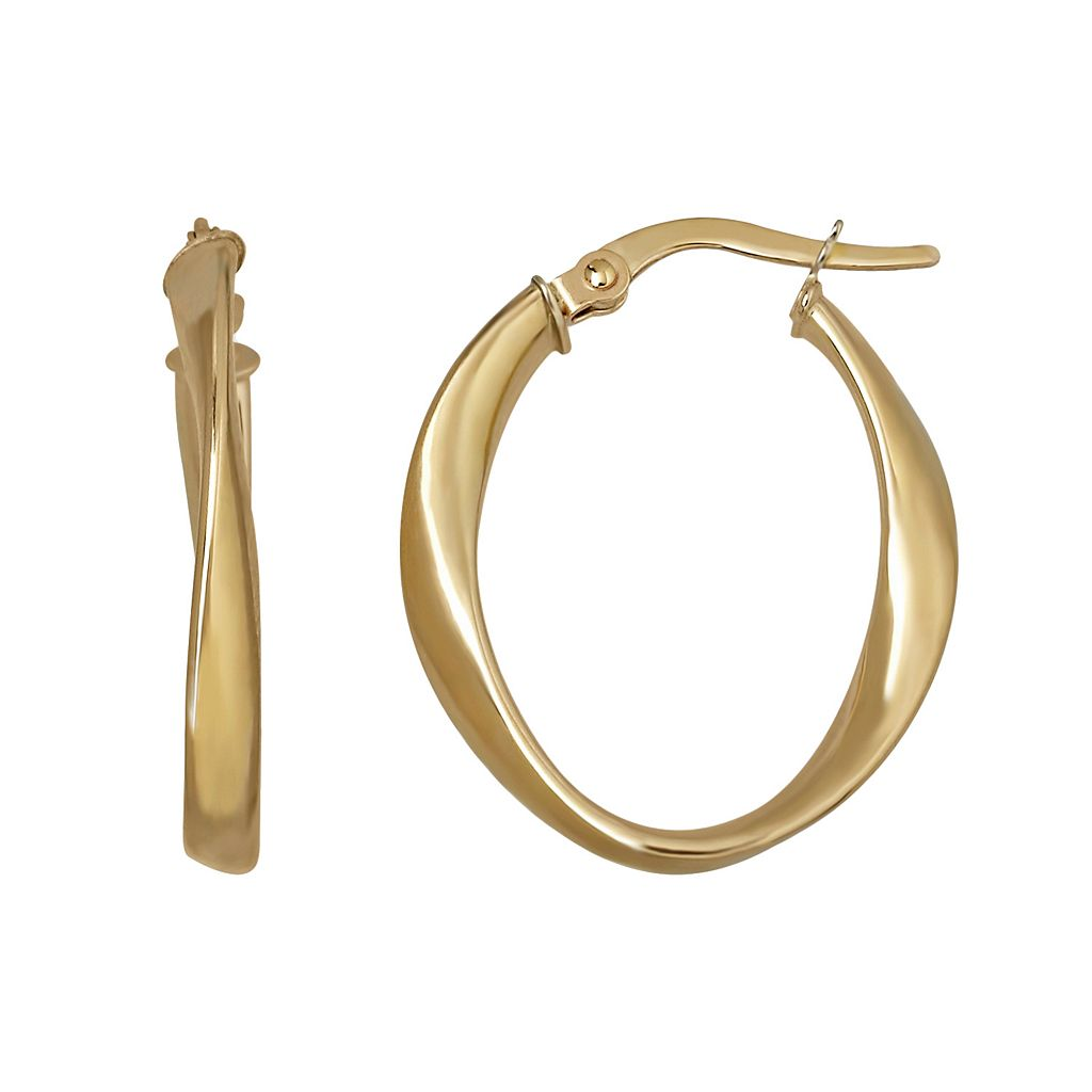 Everlasting Gold 14k Gold Twist Oval Hoop Earrings