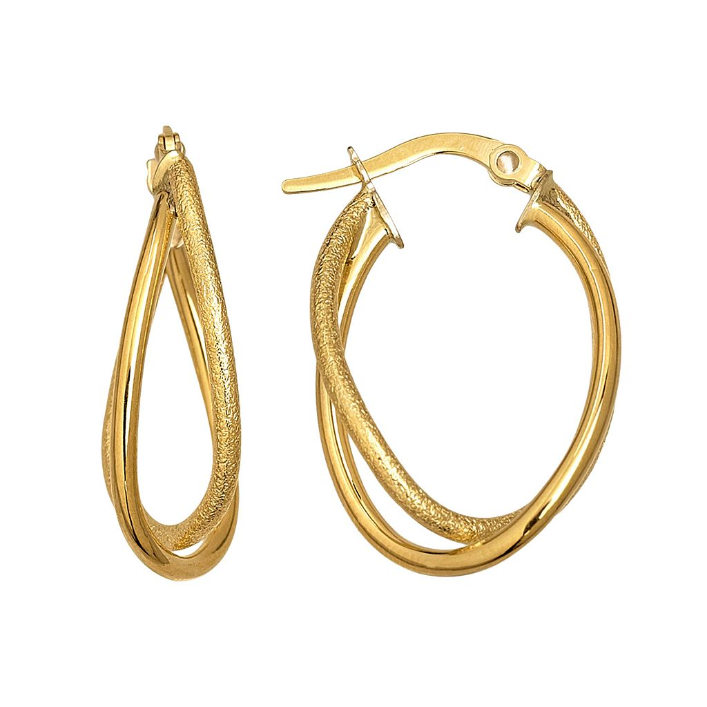 Everlasting Gold 14k Gold Textured Double Hoop Earrings