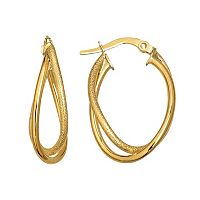 Everlasting Gold 14k Gold Textured Double Hoop Earrings