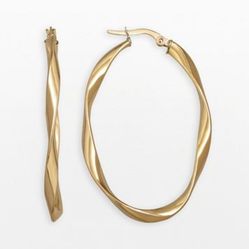 Everlasting Gold 14k Gold Twist Oval Hoop Earrings
