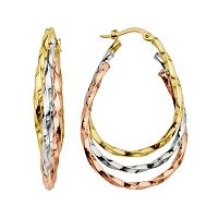 Everlasting Gold 14k Gold Tri-Tone Twist Oval Concentric Hoop Earrings