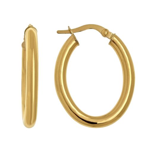 Everlasting Gold 14k Gold Oval Hoop Earrings