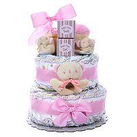 Baby Cakes 2 Tier Diaper Cake Gift Basket - Girl