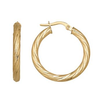 Everlasting Gold 14k Gold Twist Hoop Earrings